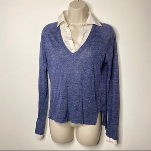 Brochu Walker layer pullover blue white collar XS